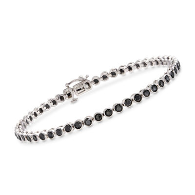 3.00 ct. t.w. Bezel-Set Black Diamond Tennis Bracelet in Sterling Silver, , default