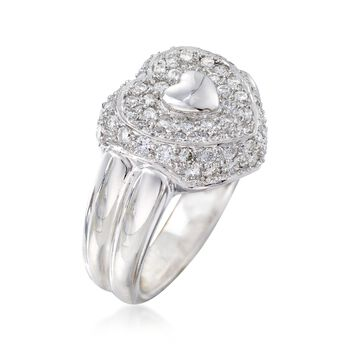 C. 1990 Vintage .80 ct. t.w. Pave Diamond Heart Ring in 18kt White Gold. Size 6.5, , default