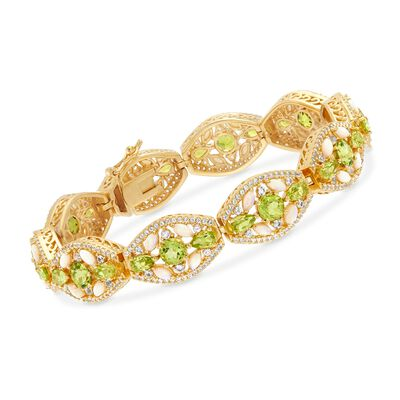 7.80 ct. t.w. Peridot, 2.60 ct. t.w. White Topaz and Opal Bracelet in 18kt Yellow Gold Over Sterling Silver, , default