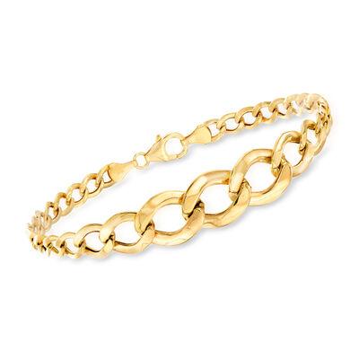 14kt Yellow Gold Graduated Link Bracelet, , default