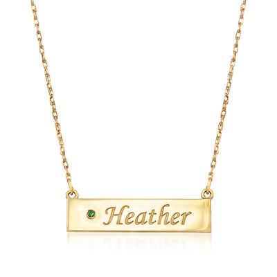 Birthstone Name Necklace in 14kt Yellow Gold, , default