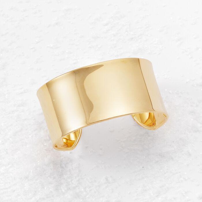 Italian 14kt Yellow Gold Wide Cuff Bracelet