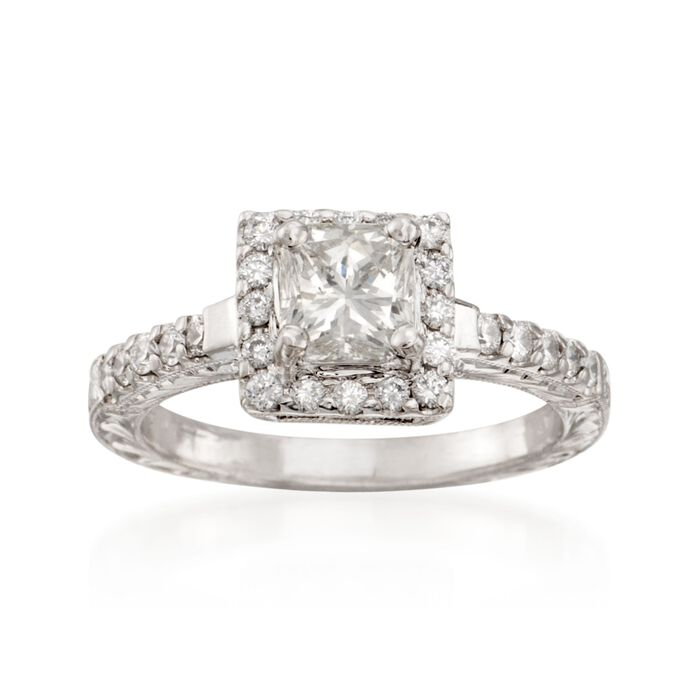 1.39 ct. t.w. Certified Radiant-Cut Diamond Engagement Ring in Platinum