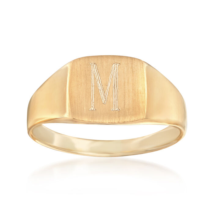 14kt Yellow Gold Single Initial Square Signet Ring