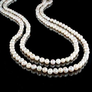 """9-10mm Cultured Semi-Baroque Pearl Endless Necklace. 80"""", , default"""