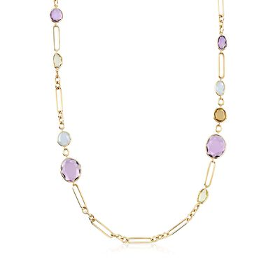 27.70 ct t.w. Multi-Stone Necklace in 18kt Yellow Gold, , default