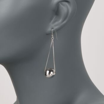 Sterling Silver Bead and Chain Drop Earrings, , default