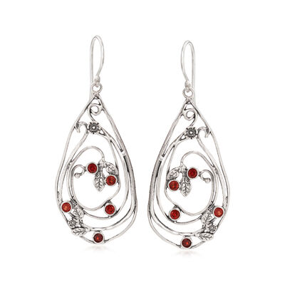 .10 ct. t.w. Garnet Open-Space Drop Earrings in Sterling Silver