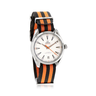 Omega Seamaster Aqua Terra Men's 41mm Automatic Stainless Steel Watch with Black and Orange Nato Strap