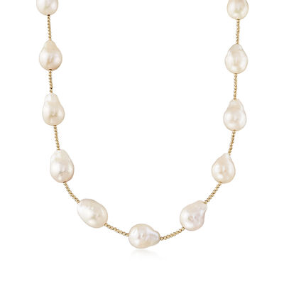 11-14mm Cultured Baroque Pearl Necklace in 14kt Yellow Gold , , default