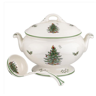 "Spode ""Christmas Tree"" 75th Anniversary Footed Tureen and Ladle"