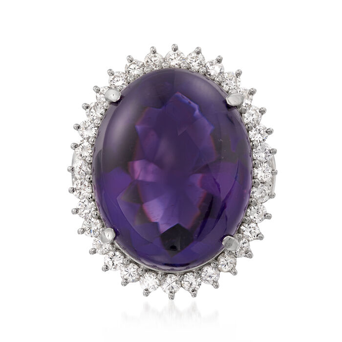 C. 1990 Vintage Oval 31.05 Carat Amethyst and 1.21 ct. t.w. Diamond Ring in Platinum. Size 6, , default