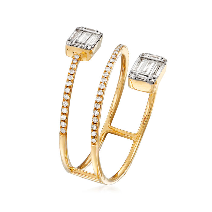 .47 ct. t.w. Baguette and Round Diamond Wrap Ring in 18kt Yellow Gold