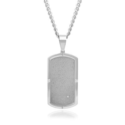 Men's Stainless Steel Dog Tag Pendant Necklace with Diamond Accent, , default
