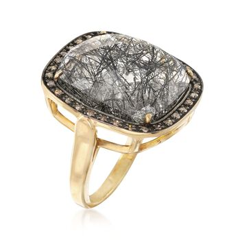 13.00 Carat Tourmalinated Quartz and .25 ct. t.w. Champagne Diamond Ring in 18kt Gold Over Sterling, , default