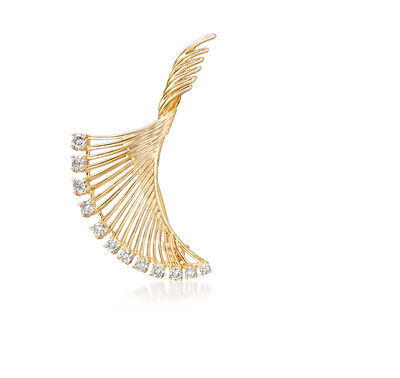 .33 ct. t.w. Diamond Twist Fan Pin in 18kt Gold Over Sterling
