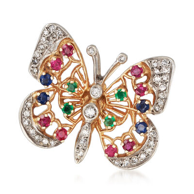 C. 1980 Vintage Multi-Gemstone Butterfly Pin in 14k Yellow Gold, , default