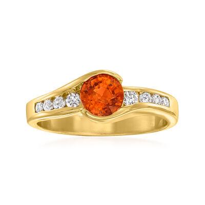 C. 1990 Vintage .85 Carat Orange Garnet and .20 ct. t.w. Diamond Ring in 14kt Yellow Gold