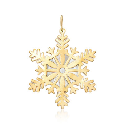 Italian Mother-Of-Pearl and 14kt Yellow Gold Snowflake Pendant, , default