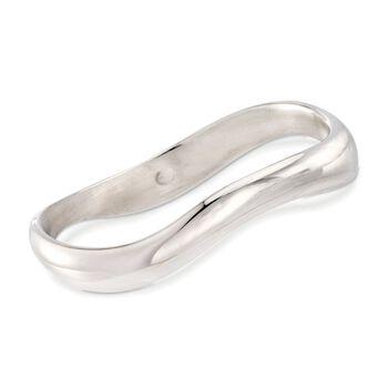 Italian Sterling Silver Wavy Bangle Bracelet, , default