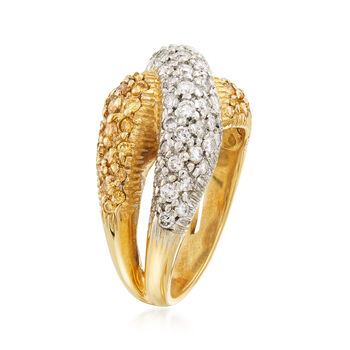 C. 1990 Vintage 1.75 ct. t.w. Yellow and White Diamond Crossover Ring in 14kt Two-Tone Gold. Size 6.5, , default