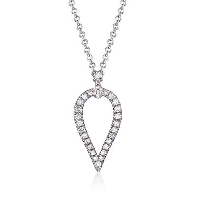 Gabriel Designs .17 ct. t.w. Diamond Open Teardrop Pendant Necklace in 14kt White Gold