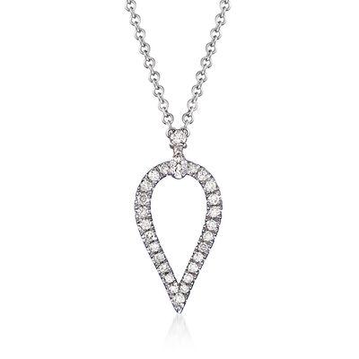 Gabriel Designs .17 ct. t.w. Diamond Open Teardrop Pendant Necklace in 14kt White Gold