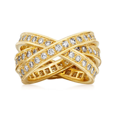 C. 1980 Vintage Cartier 1.55 ct. t.w. Diamond Trinity Ring in 18kt Yellow Gold, , default
