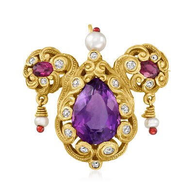 C. 1950 Vintage 2.4mm Cultured Pearl and 5.20 ct. t.w. Multi-Gemstone Pin/Pendant with .35 ct. t.w. Diamonds in 18kt Yellow Gold