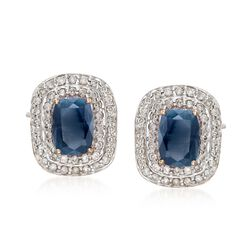 2.20 ct. t.w. Sapphire and .48 ct. t.w. Diamond Earrings in 14kt Yellow Gold, , default