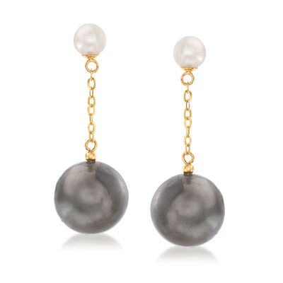 12-12.5mm Black Cultured Tahitian Pearl and 5.5-6mm Cultured Pearl Drop Earrings in 14kt Yellow Gold, , default