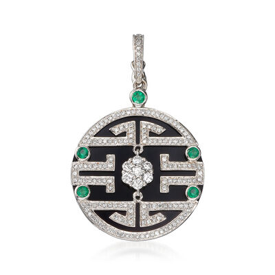 Black Onyx and 1.00 ct. t.w. Diamond Maze Pendant with .30 ct. t.w. Emeralds in 18kt White Gold, , default