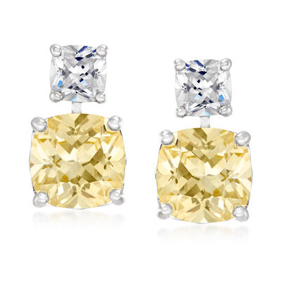 10.50 ct. t.w. Yellow and White CZ Drop Earrings in Sterling Silver