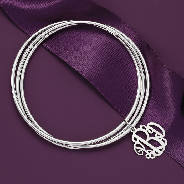 Sterling Silver Rolling Bangle Bracelet with Monogram Charm