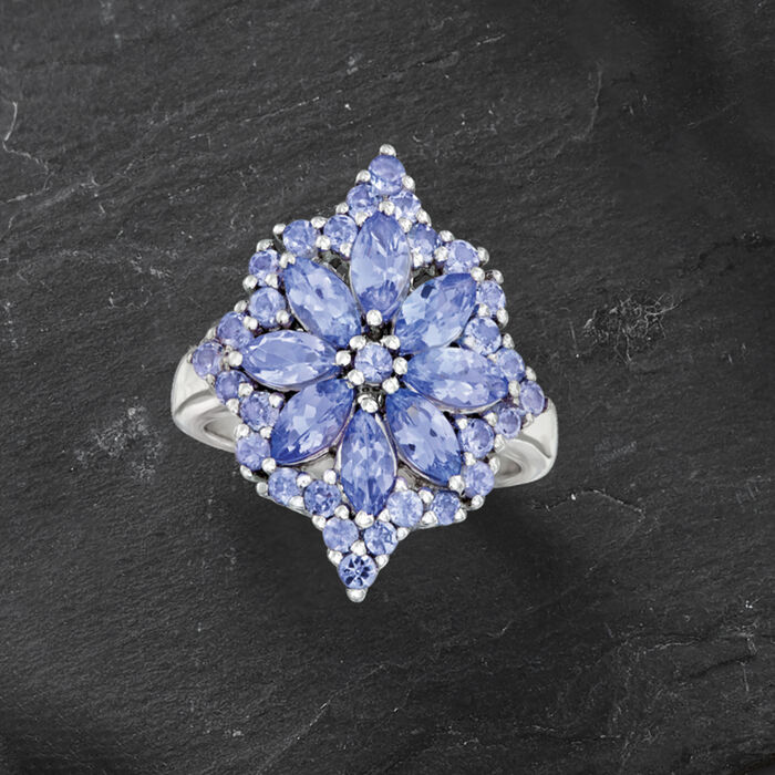 2.70 ct. t.w. Tanzanite Flower Burst Ring in Sterling Silver