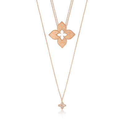 "Roberto Coin ""Venetian Princess"" .20 ct. t.w. Diamond Double Chain Flower Pendant Necklace in 18kt Rose Gold"