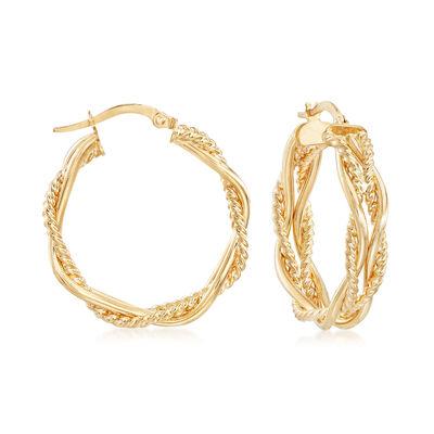 Italian 14kt Yellow Gold Interlocking Hoop Earrings, , default