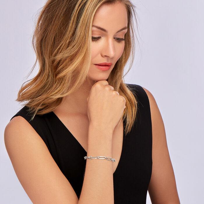 Italian Sterling Silver Paper Clip Link Toggle Bracelet