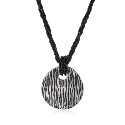 Italian Zebra-Print Murano Glass Pendant Necklace with Sterling Silver