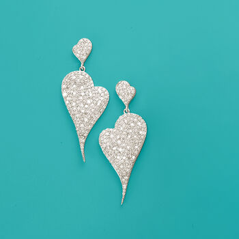 2.00 ct. t.w. Pave Diamond Abstract Heart Drop Earrings in Sterling Silver