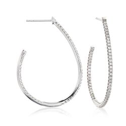 1.00 ct. t.w. CZ Inside-Outside J-Hoop Earrings in Sterling Silver, , default