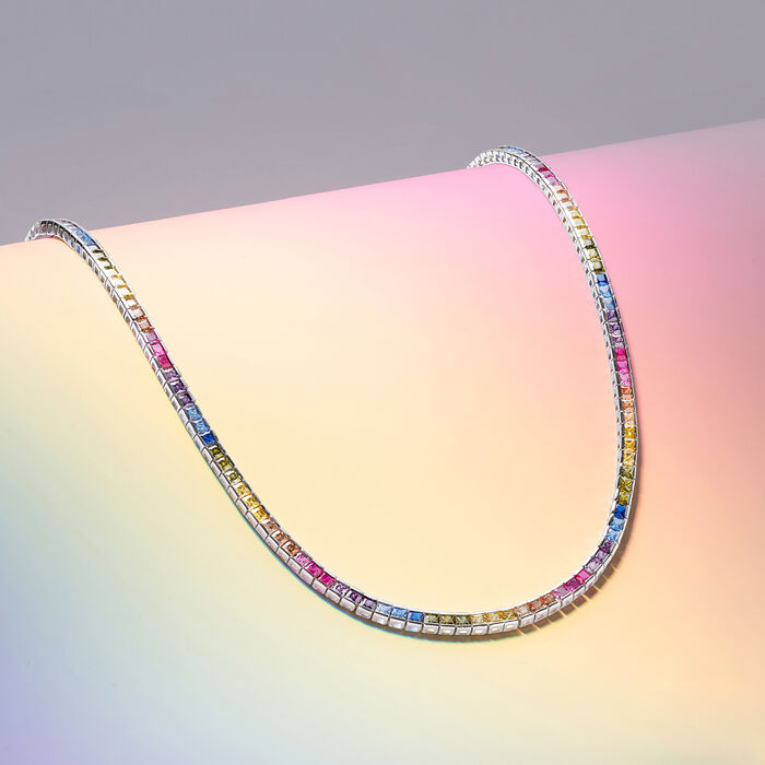 20.00 ct. t.w. Rainbow CZ Tennis Necklace in Sterling Silver