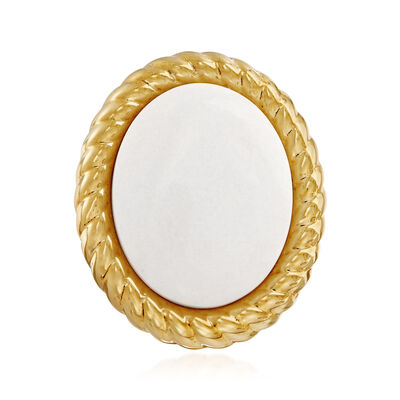 Italian Andiamo 14kt Yellow Gold and White Agate Ring , , default