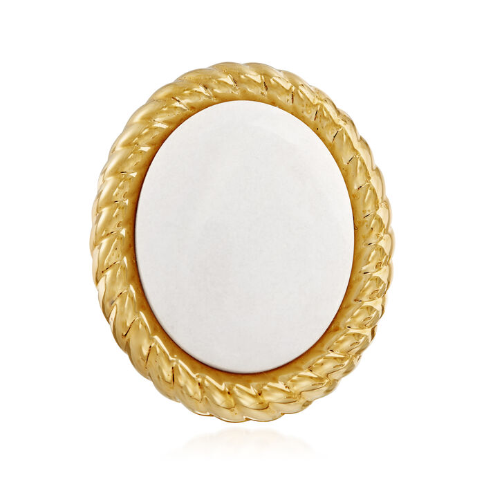 Italian Andiamo 14kt Yellow Gold and White Agate Ring