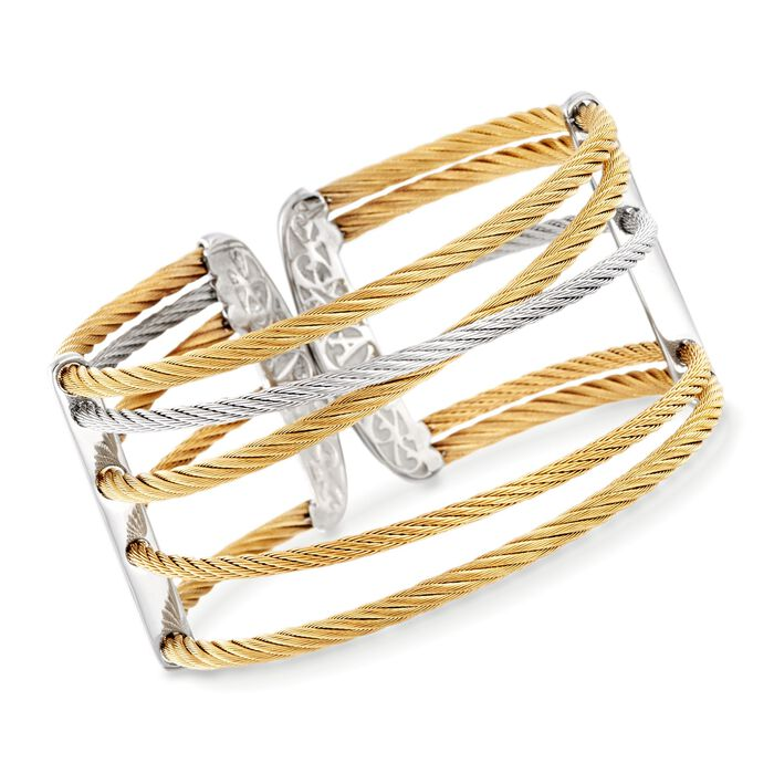 "ALOR ""Classique"" Two-Tone Stainless Steel Cuff Bracelet. 7"", , default"