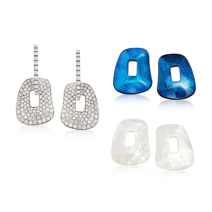 """Mattioli """"Puzzle"""" 18kt White Gold Earrings with Three Interchangeable Drops: 1.78 ct. t.w. Diamond and Multicolored Mother-Of-Pearl"""