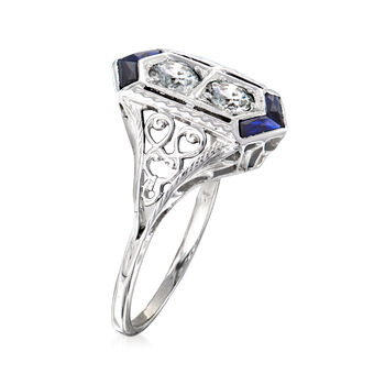 C. 1950 Vintage .50 ct. t.w. Diamond and .12 ct. t.w. Simulated Sapphire Ring in 18kt White Gold. Size 6, , default