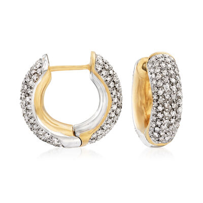 C. 1990 Vintage 2.80 ct. t.w. Pave Diamond Hoop Earrings in 14kt Two-Tone Gold, , default