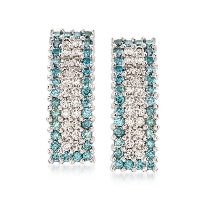 1.95 ct. t.w. Blue and White Diamond Drop Earrings in 14kt White Gold, , default