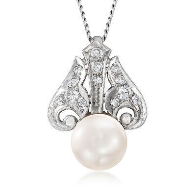 C. 1990 Vintage 9mm Cultured Pearl and .35 ct. t.w. Diamond Pendant Necklace in 14kt White Gold, , default